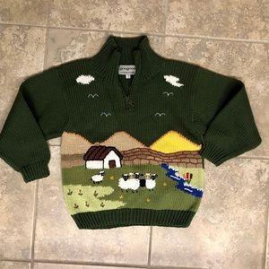 Handmade farm scene sweater from Ireland NWOT